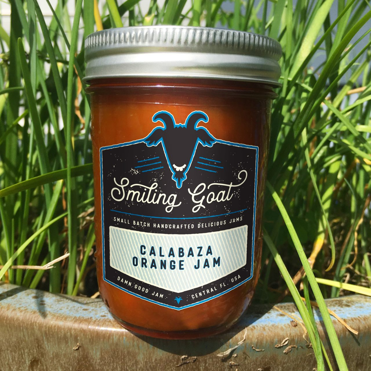 A jar of Smiling Goat's Calabaza Orange Jam